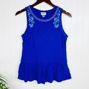 BOGO Old Navy Blue Embroidered Peplum Tank Small
